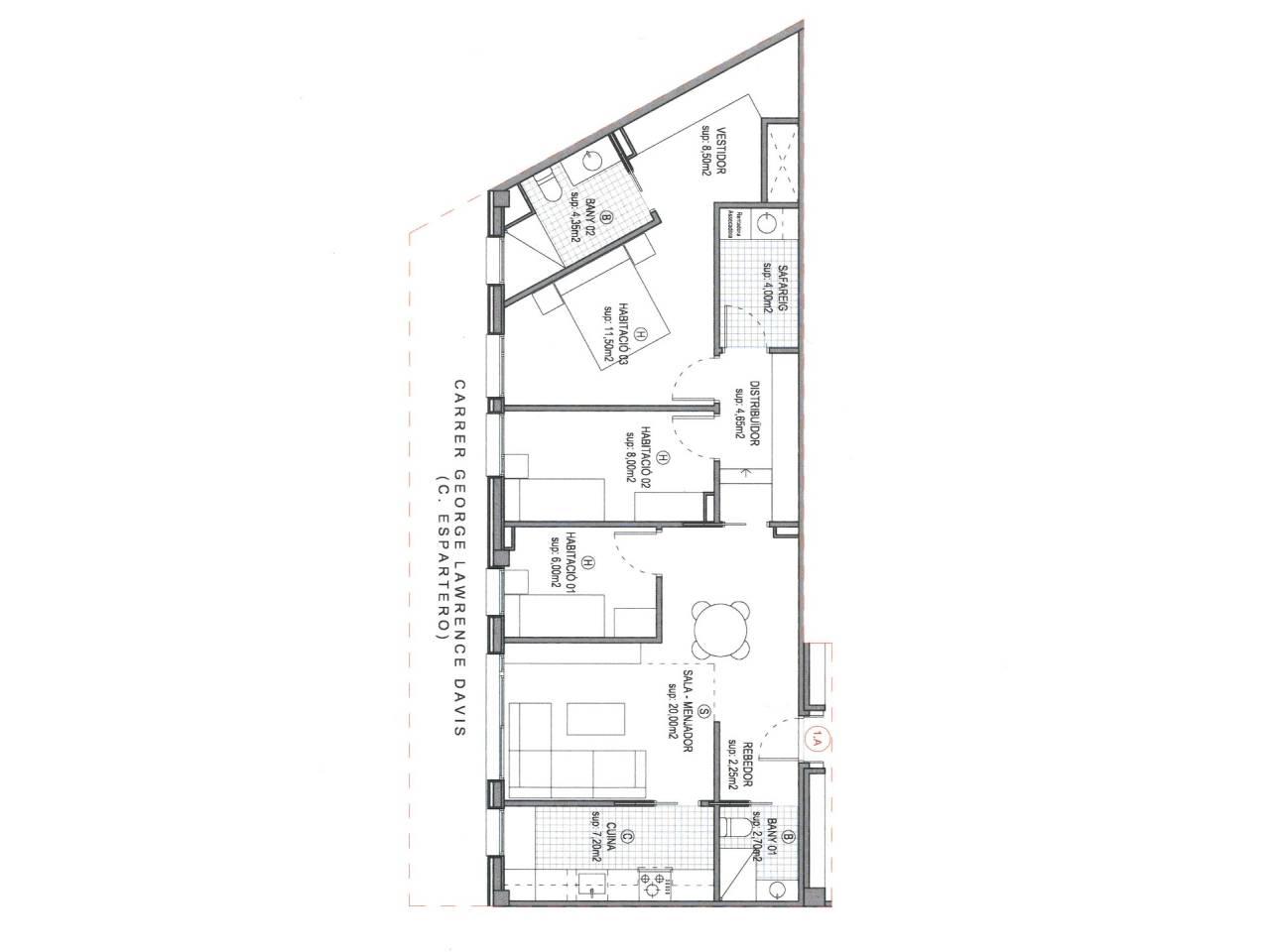Lloguer Pis  Calle buenos aires. Superficie total 90 m², piso superficie útil 79 m², hab. individ
