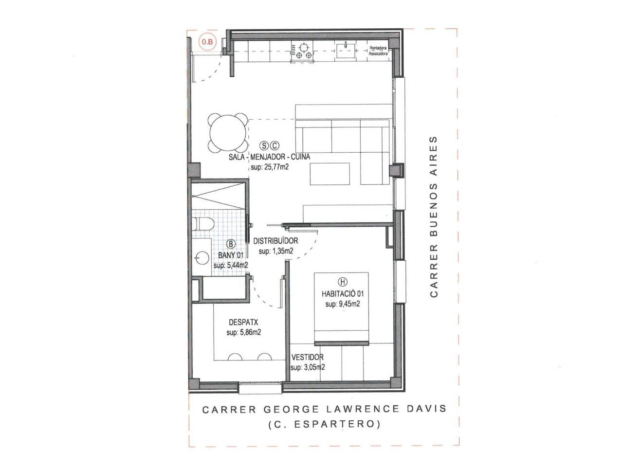 Lloguer Pis  Calle buenos aires. Superficie total 60 m², piso superficie útil 51 m², hab. individ